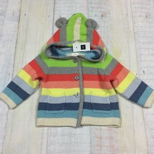 Baby Gap 3-6 Month Bright Striped Sweater Jacket